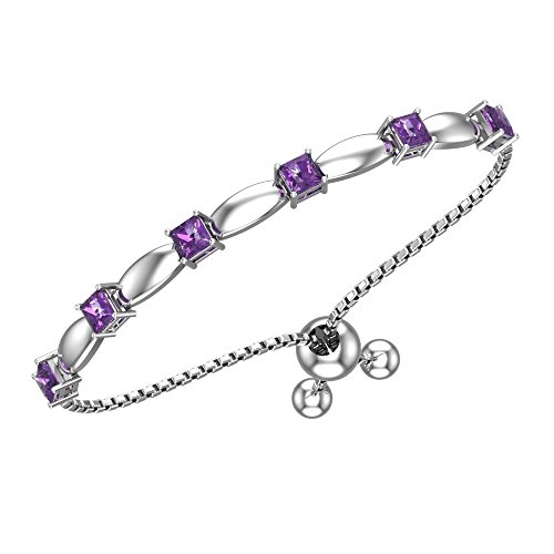 Belinda Jewelz Womens 925 Sterling Silver Sparkling Square Bolo Gemstone Adjustable Tennis Style Pull String Birthstone Jewelry Fine Bracelet, 1.9 Carat Amethyst Purple, 11 Inch Box Chain