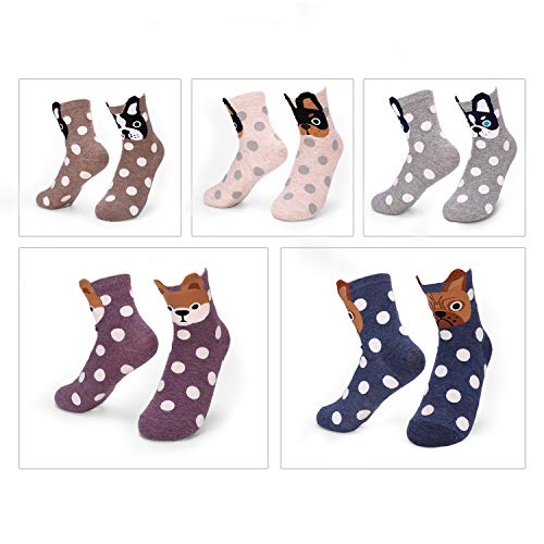 5 Pairs Women's Fun Socks Cute Dog Animals Funny Funky Novelty Cotton Gift (Dog and Dot),One Size