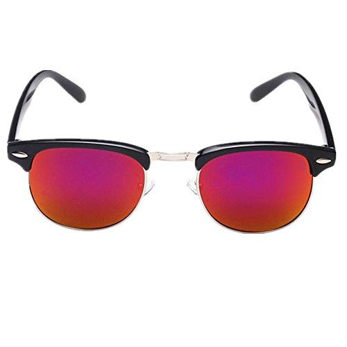 Shiratori Retro Classic Metal Half Frame Color Film Sunglasses Red