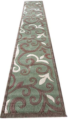 Amazon Com Emirates Modern Long Contemporary Runner Rug Sage Green Floral Design 525 31 Inch X 14 Feet 5 Inch Furniture Decor