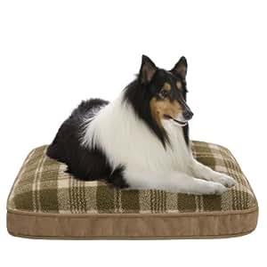 JLA Pets Tartan Plaid Berber Napper 30 by 42-Inch Dog Bed, Sage