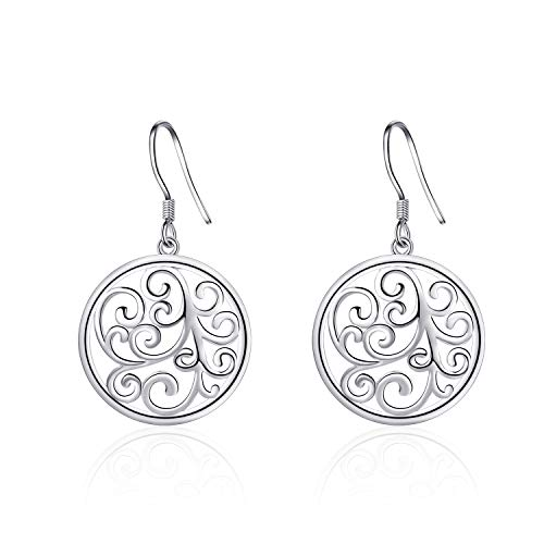 (LONAGO 925 Sterling Silver Filigree Earrings Wave Flower Circle Round Dangle Drop for Sensitive Ears Hypoallergenic Fish-hook Woman Girl Jewely Gift)