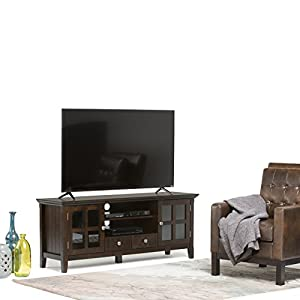"Simpli Home Acadian Solid Wood TV Media Stand for TVs up to 66"", Rich Tobacco Brown"