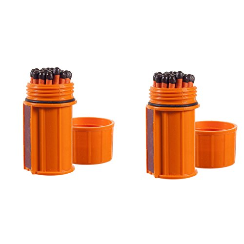 UCO Stormproof Match Kit with Waterproof Case, 25 Stormproof Matches and 3 Strikers (Orange (2-Pack)) ()