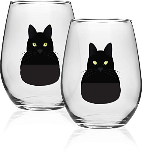 Circleware 15508 Black Cat Stemless Wine Glasses, Set of 2, Home & Kitchen Funny Party Entertainment Dining Glassware for Water, Beer, Juice, Ice Tea, Whiskey Bar Beverage Cup Gifts 18.9 oz