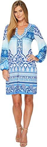 Hale Bob Women's Precious Cargo Matte Microfiber Jersey Dress Blue Medium
