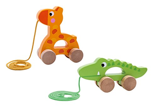 Timy Crocodile Wooden Pull Along Walking Educational Toy for Toddler Baby Tooky