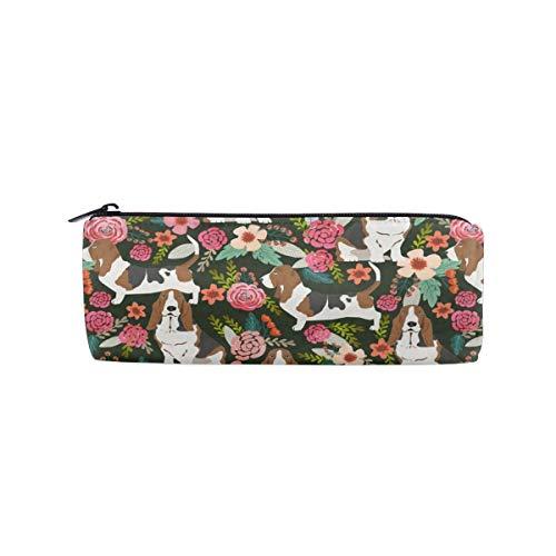Pencil Bag Crazy Basset Hound Florals Pencil Case Pen Zipper Bag Pouch Holder Makeup Brush Bag for School Work Office