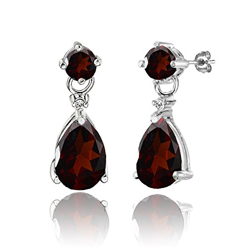 Sterling Silver Garnet Teardrop Dangle Earrings