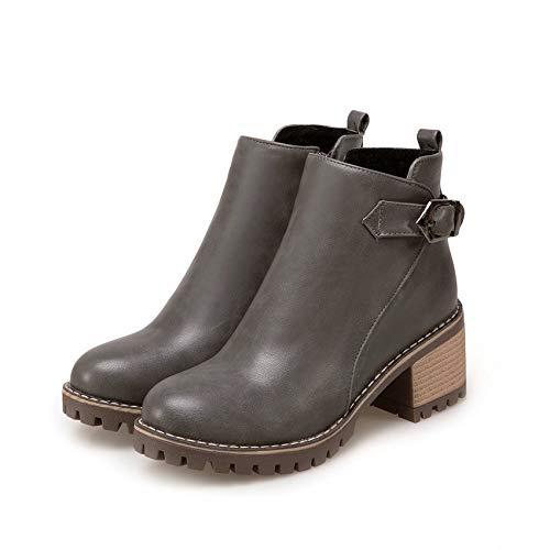 All Gray Stivali Donna 43 Donne Hoesczs Quadrato Pu Stivaletti Taglia Scarpe Moda 2019 Punta Tacco Match Zipper 34 Rotonda qxEUp