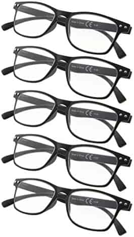 aaf0ab6b4 5-pack 80's Reading Glasses with Ultrathin Flex Frame Include Sunshine  Readers