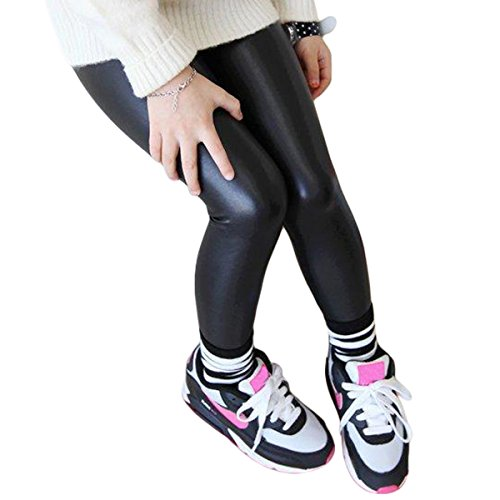 Hiigoo Girls Black Elasticity Faux Leather Pants Kids Thick Leggings Warmth Trousers for 2-14 Years Old Children