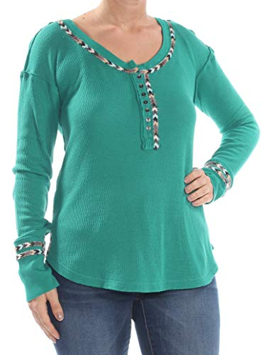 Free People Womens Juniors Contrast Trim Long Sleeves Thermal Top Green L