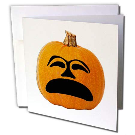 (3dRose Sandy Mertens Halloween Food Designs - Jack o Lantern Unhappy Sad Face Halloween Pumpkin, 3drsmm - 6 Greeting Cards with envelopes)