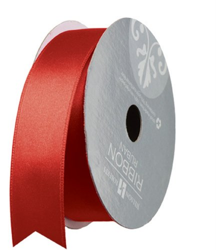 (Jillson Roberts 1-Inch Double Faced Satin Ribbon Available in 21 Colors, Red, 6 Spool-Count (FR1009))