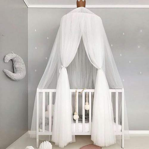 Luerme Baby Kids Bed Canopy Ruffle Lace Mosquito Net Dome Princess Bed Curtain Room Tent Decoration (White)