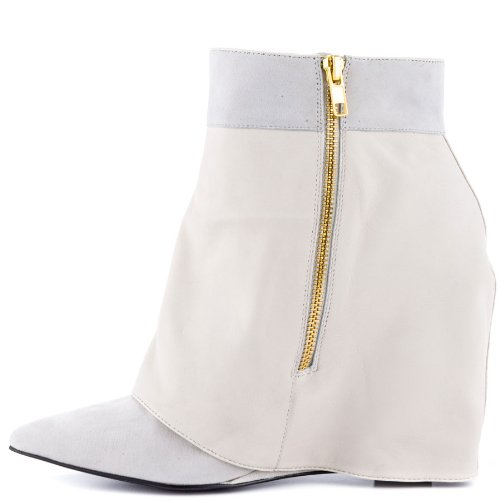 London Trash Siri Femmes Wedge Daim Cuir Bottillons En Cuir Blanc