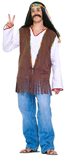 Mens 60s Costumes (Forum Novelties Men's Generation Hippie Costume Vest, Brown, One Size)