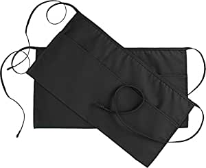 Utopia Kitchen 3 Pockets Waist Apron (Set of 2, Black, 24 x 12 inches) - Restaurant Half Aprons Men, Women, Chef, Baker, Servers, Waitress, Waiter, Bartender, Craftsmen and Money Apron, Check Holder