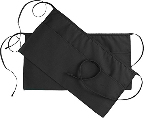 Utopia Kitchen 3 Pockets Waist Apron (Set of 2, Black, 24 x 12 inches) - Restaurant Half Aprons Men, Women, Chef, Baker, Servers, Waitress, Waiter, Bartender, Craftsmen and Money Apron, Check Holder by Utopia Kitchen