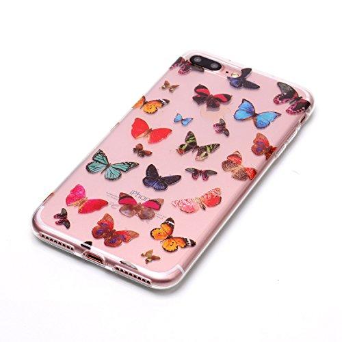 Coque Etui iPhone 8 Plus , Leiai Couleur Papillon Silicone Gel Case Avant et Arrière Intégral Full Protection Cover Transparent TPU Housse Anti-rayures pour Apple iPhone 8 Plus