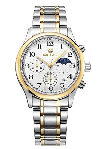 North King Quartz Watches Date Display Multi Function Three Dials Men's Watch Steel Belt Waterproof Business Nice Watches for Adults Birthday Gift