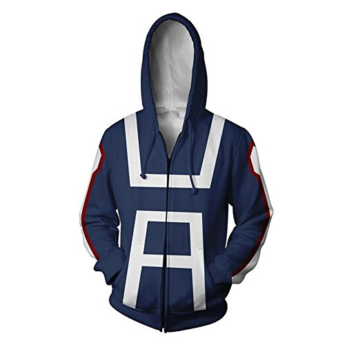 COSFLY Boku No Hero Academia My Hero Academia Izuku Midoriya Jacket Sweatshirt Cosplay Costume Hoodies Navy Blue(4X-Large) ()