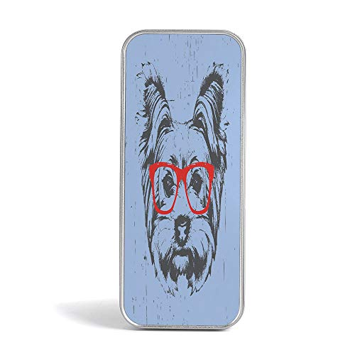 Tin Pencil Case,Yorkie,Use As Pencil,Jewelry,Gift,Candy,Make up,Birthday or Gift Box,Yorkshire Terrier Portrait Red Nerd Glasses Tainted Backdrop Animal