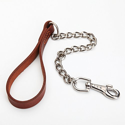 2' Dog Lead (SteelPet 2Ft Leather Dog Training Leash,Traffic Lead,Steel Chain And METAL CLIPS(One Twist))