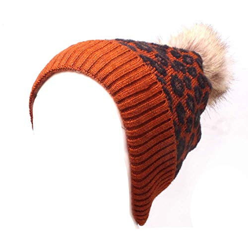 StyleV Unisex Leopard Print Warm Hat Winter Trendy Hedging Caps with Pompom