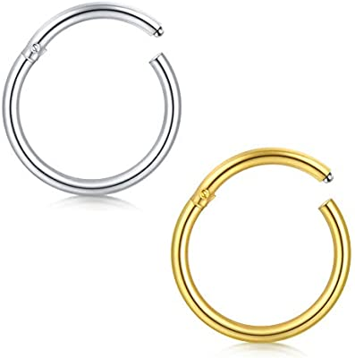 3X Cartilage Tragus 316L Surgical Steel Septum Nose Hoop Lip Ring Piercing 20G