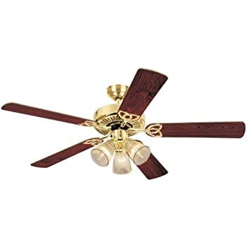 Westinghouse 7216500 contempra iv 52 inch polished brass indoor 7804365 vintage three light 52 inch reversible five blade indoor ceiling fan mozeypictures Choice Image