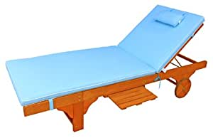 LuuNguyen - Lindy Outdoor Hardwood Chaise Lounge - Cushion ONLY with head Pillow (Crystal Blue)
