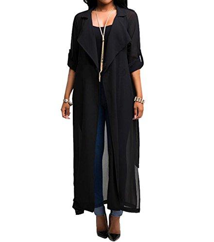 LLQ Cardigan Femme t, Kimono Plage avec Taille Noue, Long Capes Transparent Gilet Lgre pour Protection UV Noir