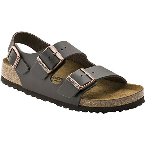 Birkenstock 34101 Milano Leather Unisex Sandals, Dark Brown, 43 ()