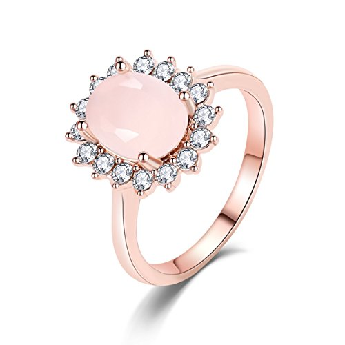 Eternity Love Best Promise Rings for Her Anniversary 14k Rose Gold Opal Oval Ring ()