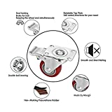 """Moogiitools 3"""" PVC Heavy Duty 1000lbs Swivel Rubber Caster Wheels with Safety Dual Locking Casters Set of 4 with Brake"""