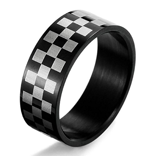 Epinki,Fashion Jewelry Men's Stainless Steel Rings Band Black White Grid Unique Polished Size 8