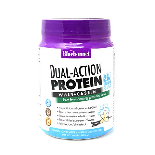 Bluebonnet Nutrition Dual-Action Protein Powder, Whey from Grass Fed Cows, 26 Grams of Protein, No Sugar Added, Non GMO, Gluten Free, Soy Free, Kosher Dairy, 1.05 lbs 14 Serving, French Vanilla Flavor