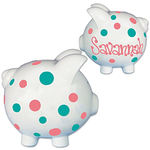 lized Piggy Bank - Coral & Teal Dots Nursery Baby Gift (Baby Dot Ceramic)