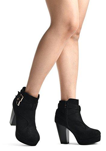Lusthave Donna Fibbia Piattaforma Impilata Highchunky Tacco Stivaletto Alla Caviglia Stivali Ellie Neri