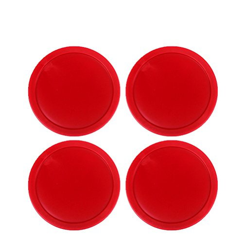 Ellen Tools Set of 4 Red Home Standard Air Hockey Pucks -- Large Size for Adults 2.95 inches, 75mm