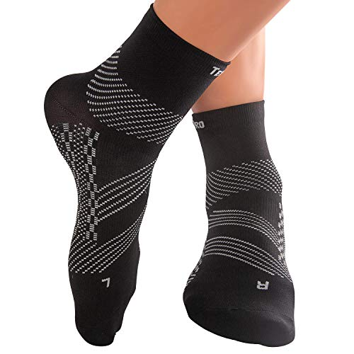 TechWare Pro Ankle Brace Compression Socks – Plantar Fasciitis Pain Relief Sock with Arch Support. Foot Sleeve Relieves Achilles Tendonitis & Heel Pain. Women & Men. Everyday Use & Injury Recovery