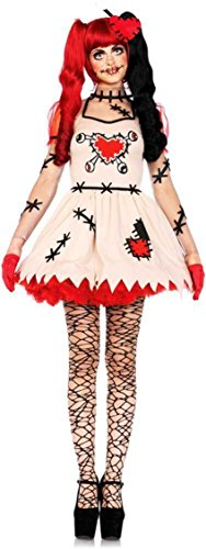 Ladies German Officer Costume (Creepy Cute Voodoo Puppet Stitched Dress Outfit Rag Doll Costume Adult)
