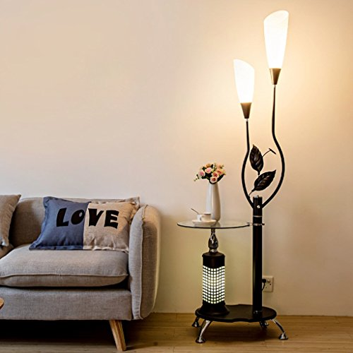 Shade Lamp Floor Acrylic (Modern Floor Lamp with Glass Shelves, 2 Light White Acrylic Lampshade, Metal Decoration Stands Lamp for Living Room Bedroom,H171CM (Color : Black))