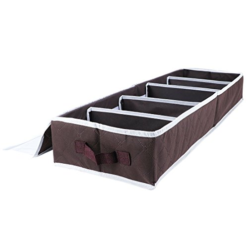 Pasutewel Foldable Under Bed Storage Bag Breathable Moistureproof Material Shoe Organizer Storage Brown 5-Pair by Pasutewel