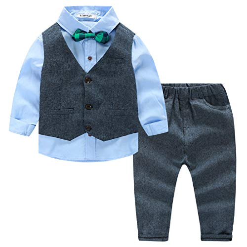 Toddler Boys 3pcs Solid Clothing Set Classic Gentle Wedding Tuxedo Outfits Cotton Fully Lined Formal Wear Suit, 3T by Kimocat