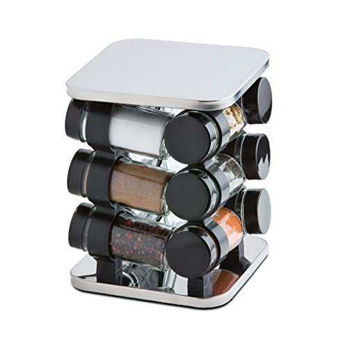 Modernhome 12 piece stainless steel spice rack carousel for Carousel spice racks for kitchen cabinets