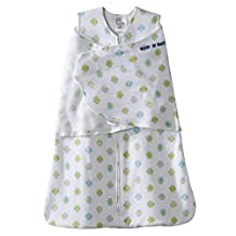 Halo Innovations SleepSack Swaddle Cotton Owl Print, White, Blue, Green, Small