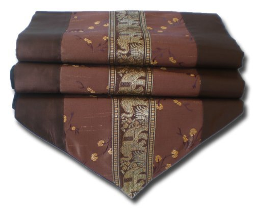by soljo - tablecloth tablerunner table runner linen Thai Silk Elegant Elephant 150/200/250 cm x 32 cm many colors (brown, 200 cm x 32 cm) by by soljo